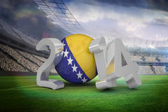 Composite image of bosnia world cup 2014. Bosnia world cup 2014 against large football stadium with lights Royalty Free Stock Photos