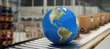 Composite image of boxes and blue globe on conveyor belt. Boxes and blue globe on conveyor belt against image of a warehouse royalty free illustration
