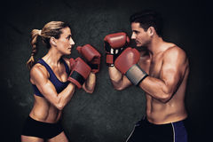 Composite image of boxing couple Royalty Free Stock Image