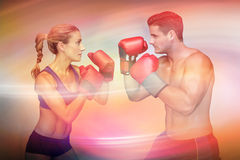 Composite image of boxing couple Stock Photo