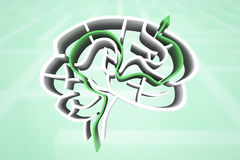Composite image of brain maze with arrow. Brain maze with arrow against difficult maze puzzle Royalty Free Stock Images