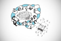 Composite image of brainstorm and cloud computing doodle with typewriter Stock Photography