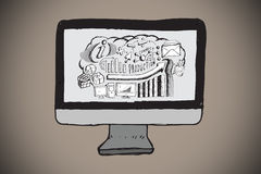 Composite image of brainstorm on computer screen doodle. Brainstorm on computer screen doodle against grey background with vignette Royalty Free Stock Photography