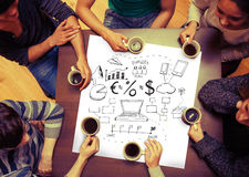 Composite image of brainstorm graphic on page. With people sitting around table drinking coffee royalty free stock photos