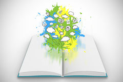 Composite image of brainstorm on paint splashes on open book Royalty Free Stock Images