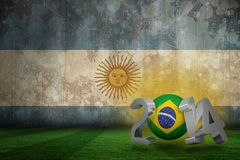 Composite image of brazil world cup 2014. Brazil world cup 2014 against argentina flag in grunge effect Stock Illustration