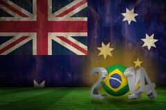 Composite image of brazil world cup 2014. Brazil world cup 2014 against australia flag in grunge effect Royalty Free Stock Photo