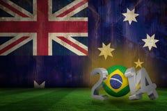 Composite image of brazil world cup 2014. Brazil world cup 2014 against australia flag in grunge effect Stock Illustration