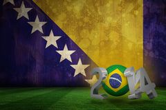 Composite image of brazil world cup 2014. Brazil world cup 2014 against bosnia flag in grunge effect Stock Illustration