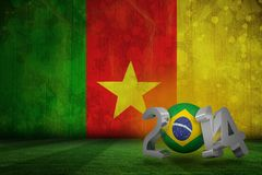 Composite image of brazil world cup 2014. Brazil world cup 2014 against cameroon flag in grunge effect Stock Illustration