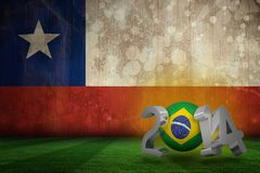 Composite image of brazil world cup 2014. Brazil world cup 2014 against chile flag in grunge effect Royalty Free Illustration