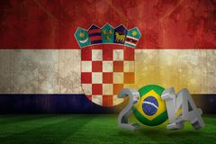 Composite image of brazil world cup 2014. Brazil world cup 2014 against croatia flag in grunge effect Stock Illustration