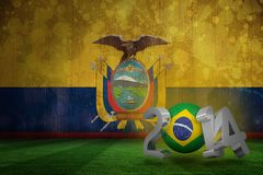 Composite image of brazil world cup 2014. Brazil world cup 2014 against ecuador flag in grunge effect Stock Images