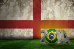 Composite image of brazil world cup 2014. Brazil world cup 2014 against england flag in grunge effect Royalty Free Stock Photography