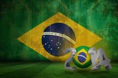 Composite image of brazil world cup 2014. Brazil world cup 2014 against brazil flag in grunge effect Stock Illustration