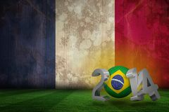 Composite image of brazil world cup 2014. Brazil world cup 2014 against france flag in grunge effect Vector Illustration