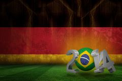 Composite image of brazil world cup 2014. Brazil world cup 2014 against germany flag in grunge effect Stock Illustration