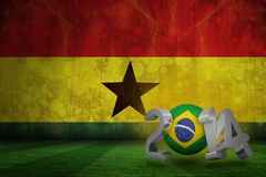 Composite image of brazil world cup 2014. Brazil world cup 2014 against ghana flag in grunge effect Royalty Free Stock Images