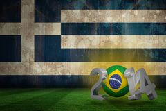 Composite image of brazil world cup 2014. Brazil world cup 2014 against greece flag in grunge effect Royalty Free Stock Photos