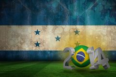 Composite image of brazil world cup 2014. Brazil world cup 2014 against honduras flag in grunge effect Royalty Free Illustration