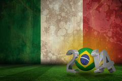 Composite image of brazil world cup 2014. Brazil world cup 2014 against italy flag in grunge effect Stock Illustration