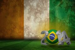 Composite image of brazil world cup 2014. Brazil world cup 2014 against ivory coast flag in grunge effect Stock Illustration
