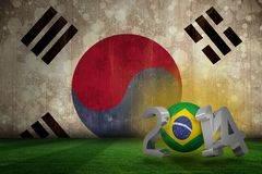 Composite image of brazil world cup 2014. Brazil world cup 2014 against korea republic flag in grunge effect Stock Photo
