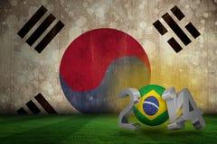 Composite image of brazil world cup 2014. Brazil world cup 2014 against korea republic flag in grunge effect Vector Illustration