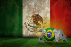 Composite image of brazil world cup 2014. Brazil world cup 2014 against mexico flag in grunge effect Stock Illustration