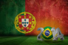Composite image of brazil world cup 2014. Brazil world cup 2014 against portugal flag in grunge effect Royalty Free Stock Photography