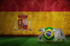 Composite image of brazil world cup 2014. Brazil world cup 2014 against spain flag in grunge effect Stock Photos