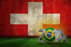 Composite image of brazil world cup 2014. Brazil world cup 2014 against switzerland flag in grunge effect Royalty Free Illustration