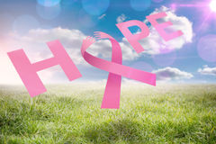 Composite image of breast cancer awareness message of hope Stock Image