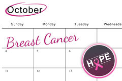 Composite image of breast cancer awareness message on poster. Breast cancer awareness message on poster against october on calendar Royalty Free Stock Photos