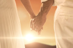 Composite image of bride and groom holding hands close up Royalty Free Stock Image