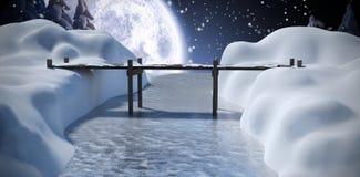 Composite image of bridge over river. Bridge over river against winter snow scene Royalty Free Stock Photography