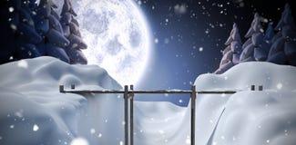 Composite image of bridge on snow covered mountain. Bridge on snow covered mountain against winter snow scene Royalty Free Stock Photos