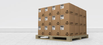 Composite image of brown cardboard boxes arranged on wooden pallet. Brown cardboard boxes arranged on wooden pallet against gray flooring and wall Stock Photography