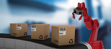 Composite image of brown cardboard boxes on 3d production line Stock Images