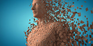 Composite image of brown pixelated 3d man. Brown pixelated 3d man against blue vignette background Stock Photo