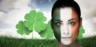 Composite image of brunette in irish face paint Royalty Free Stock Photo