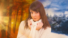 Composite image of brunette in winter clothes smiling at camera Stock Images