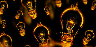 Composite image of bulb on fire on white background Royalty Free Stock Images