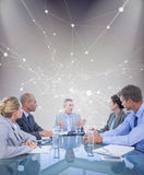 Composite image of business colleagues discussing about work Royalty Free Stock Images