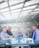 Composite image of business colleagues discussing about work Stock Photos