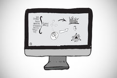 Composite image of business doodles on computer screen. Business doodles on computer screen against white background with vignette Stock Photography