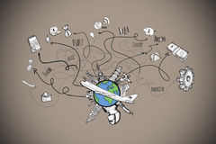 Composite image of business and global travel doodles Royalty Free Stock Photography