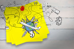 A Composite image of business and global travel doodles. Business and global travel doodles against sticky note with red pushpin Royalty Free Stock Image