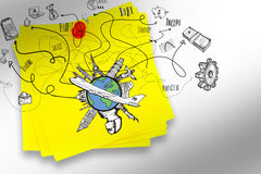 A Composite image of business and global travel doodles Stock Photography