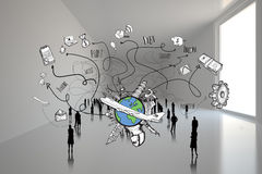 Composite image of business and global travel doodles Royalty Free Stock Images